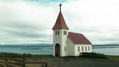 Lonely Icelandic Church in a Western Fjord Stock Footage