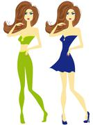 Girl with chestnut hair in green and blue Stock Illustration