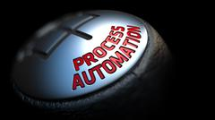 Stock Illustration of Process Automation on Gear Stick with Red Text