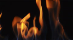 Flame in Close Up with Black Background Stock Footage