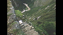 Vintage 16mm film, Machu Pichu, vertigo inducing downhill shot, 1960 - stock footage