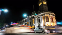 Timelapse of traffic passing Auckland Town Hall at night Stock Footage