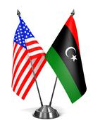 USA and Libya - Miniature Flags - stock illustration