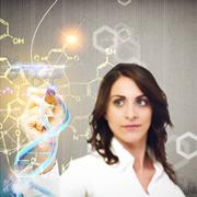 Chemist explain chemical formulas - stock illustration