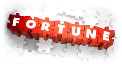Stock Illustration of Fortune - Text on Red Puzzles