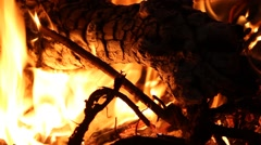 Bonfire -fire, flames close up - stock footage