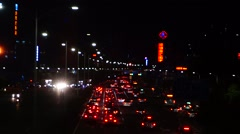Baoan Shenzhen Avenue traffic landscape at night Stock Footage