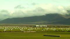 Icelandic Farm and Mountain Landscape Stock Footage