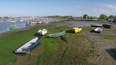 Aerial view of Chichester Harbour and peer Stock Footage