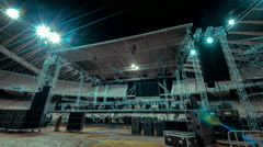 Music concert stage set up buildup construction time lapse 30p Stock Footage