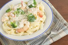 Fettuccine Alfredo Shrimp - stock photo