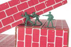 Green Army Men Teamwork Stock Photos