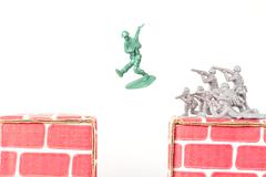 Green Army Man Escapes - stock photo