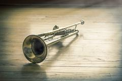 Trumpet Wooden Floor - stock photo