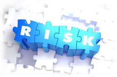 Risk - Text on Blue Puzzles - stock illustration