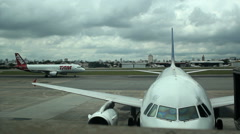 Airplane landing Congonhas Airport, Sao Paulo, Brazil. Aircraft. Stock Footage