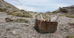 Box of Animal Bones in Badlands Abandoned Uranium Mine Panning Stock Footage