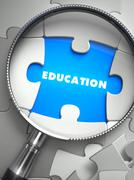 Education - Puzzle with Missing Piece through Loupe Stock Illustration