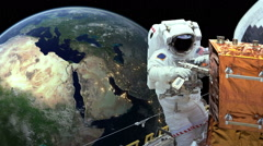 Astronaut working in space earth in background Stock Footage