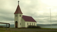 Small Church in the Country in ICELAND Stock Footage