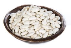 White Beans (over white) - stock photo