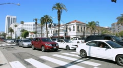 4K, UHD, Traffic on Ocean Boulevard in Santa Monica, Los Angeles, California Stock Footage