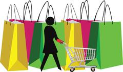Female figure with shopping cart and bags Piirros