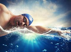 Sunshine swimmer Stock Photos
