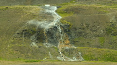 Steaming Waterfall Western Fjords, Iceland Stock Footage