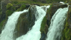 Runoff from DYNJANDI (FJALLFOSS) WATERFALL, ICELAND Stock Footage