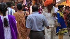 Video 1920x1080  Indian people visit the holy city. Pushkar, India Stock Footage