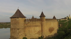 Flying near medieval fortification complex - stock footage