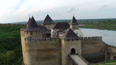 Stock Video Footage of Flying near medieval fortification complex