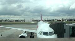Airplane terminal. Departure. Transport. Airport. Backlot  50 sec - stock footage