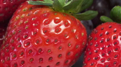 Fresh Strawberries Closeup - Macro Lens Dolly Stock Footage
