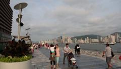 Tourists on the Avenue of Stars, Hong Kong Stock Footage