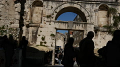 Tilt from the old wall and Cathedral of Saint Domnius in Split, Croatia Stock Footage