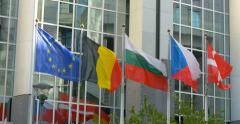 European Union Parliament EU EP building all countries flags pan panning flag Stock Footage