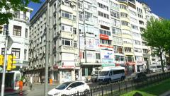 Harbiye Cumhuriyet Street, a street of massive blocks of flats for residents Stock Footage
