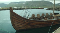 Viking Ship in Cool Lagoon in ICELAND Stock Footage