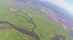 Landscape with turn at  height of 1  kilometers.  Slow motion POV aerial Stock Footage