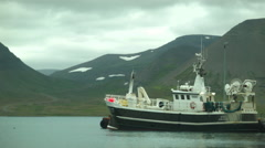 Boat at Harbor in the Western Fjords, ICELAND Stock Footage