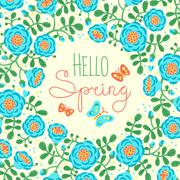 Season card Hello Spring with cute flowers and butterflies - stock illustration