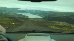 Driving Dirt Road on Single Lane Mountain Pass ICELAND Stock Footage