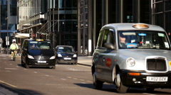 London city black taxi cabs Stock Footage