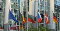 European Parliament EP building all country countries world international flags Stock Footage