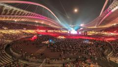 4K 30p timelapse of crowd gathering at stadium for live music concert Stock Footage