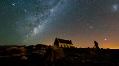 Milky Way And Aurora Australis, Church Of Good Shepherd - Pan Right Stock Footage