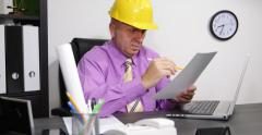 Architect Man Engineer Check Design Plan Finance Contract Document Office Indoor - stock footage