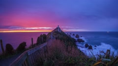 Beautiful sunrise at Nuggets Points, Catlins, New Zealand. - stock footage